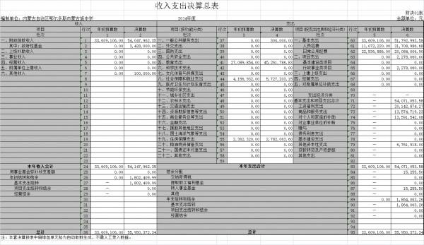 收入支出决算总表